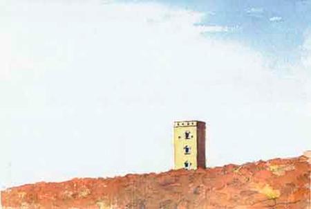 Torre amagant-se Aquarel·la 15 x 23 cm