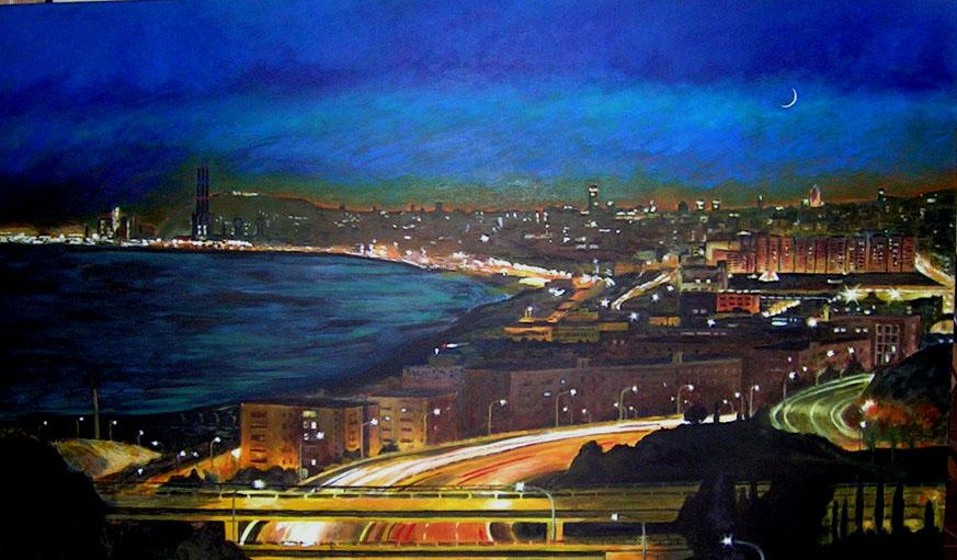 Barcelona vista des de Mongat Acrílic sobre tela 195 x 130 cm