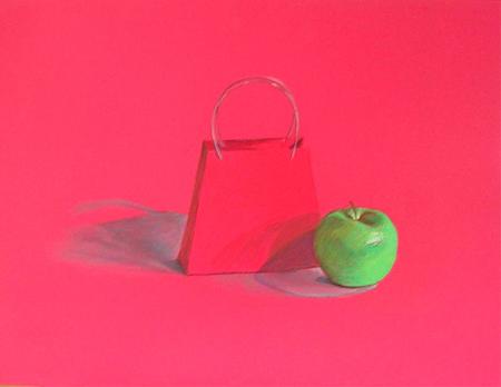 Caixa vermella amb poma verda Pintura al pastel 65 x 50 cm