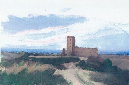 Castell al capvespre Aquarel·la 15 x 23 cm
