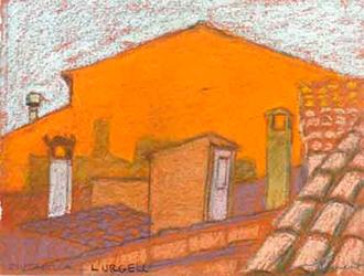 Ciutadilla Pintura al pastel 17 x 13 cm
