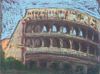 El Coliseu Pintura al pastel 17 x 13 cm