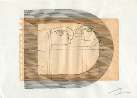 Direcció Llapis, ploma, collage sobre paper 30 x 22 cm