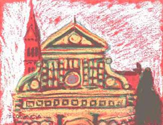 Sta. Maria la Novella Pintura al pastel 17 x 13 cm