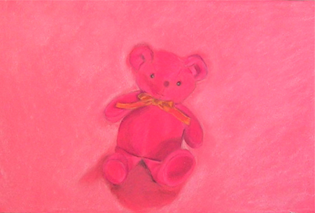 Killer toy bear Pintura al pastel 50 x 33 cm