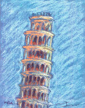Torre de Pisa Pintura al pastel 17 x 13 cm