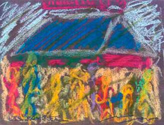 Les Rambles de nit Pintura al pastel 17 x 13 cm
