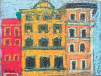 Casetes a la Fontana di Trevi Pintura al pastel 17 x 13 cm