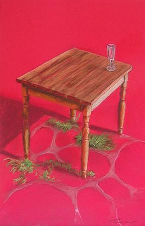 Taula amb copa Pintura al pastel 50 x 33 cm
