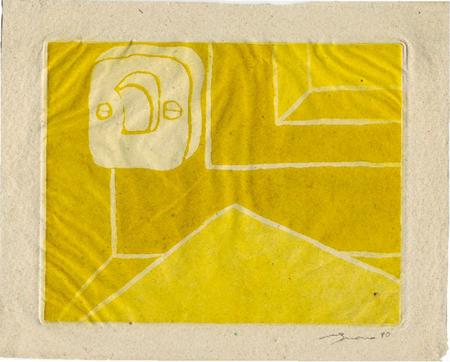 Taula de treball Gravat a la resina sobre paper d'estrassa 25 x 36 cm