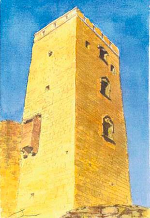 Torre castell de Ciutadilla Aquarel·la 15 x 23 cm