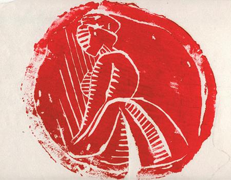 Tronc de cirerer de la Susana Solano Xilografia 31 x 35 cm