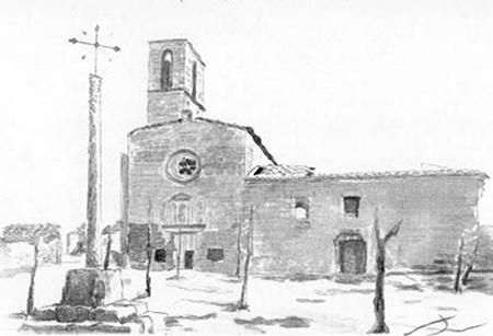 Antic convent de Ciutadilla Aquarel·la 15 x 23 cm