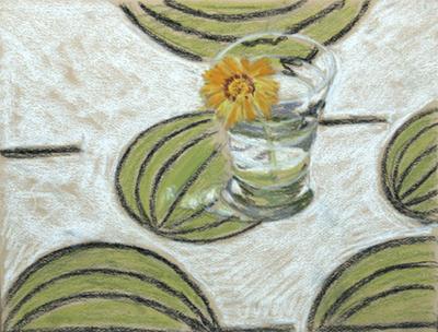 Flor en un got Pintura al pastel 16 x 22 cm