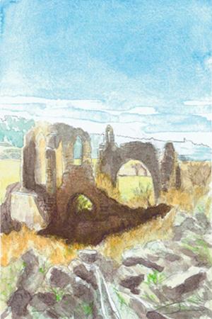 L'ombra del convent, castell de Ciutadilla al fons Aquarel·la 15 x 23 cm