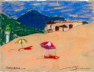 Platja de Còrcega Pintura al pastel 17 x 13 cm