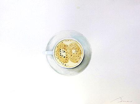 Tassa de café amb llet Acuarel·la 31 x 23 cm