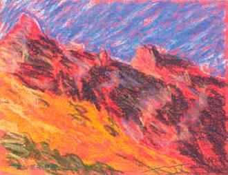 Paisatge de Tenerife 2 Pintura al pastel 17 x 13 cm