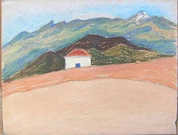 Caseta a la platja amb Teide al fons Pintura al pastel 17 x 13 cm