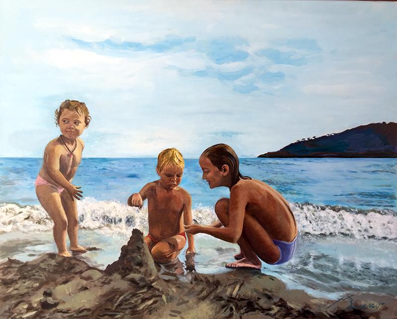 Nens a la platja Acrílic sobre tela 100 x 81 cm