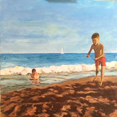 Nens a la platja Acrílic sobre tela 60 x 60 cm