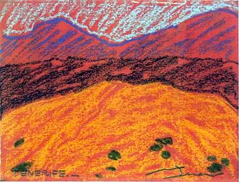 Parc del Teide Pintura al pastel 17 x 13 cm