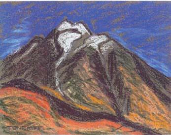 Teide Pintura al pastel 17 x 13 cm