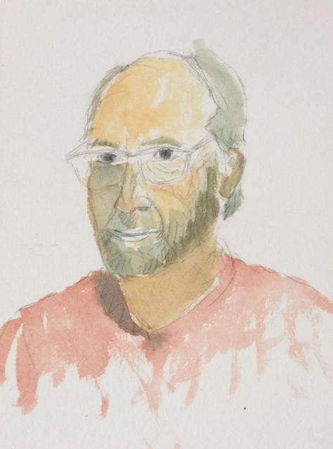 Home amb barba Llapis i aquarel·la Mides 24 x 18 cm.