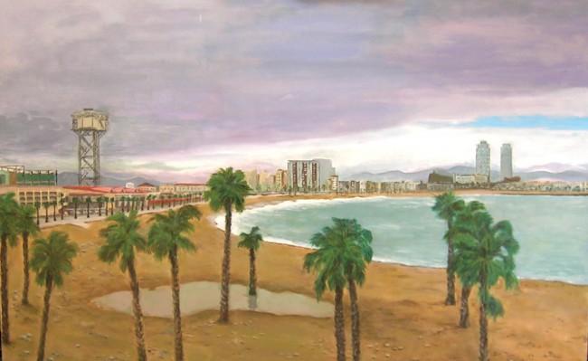 Vista des de l'Hotel Vela Acrílic sobre tela  130 x 81 cm.